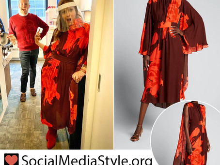 Drew Barrymore's brown and red floral print dress from The Drew Barrymore Show