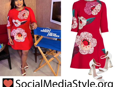 Mindy Kaling's red lace flower dress and crystal heel sandals from Late Night with Seth Meyers