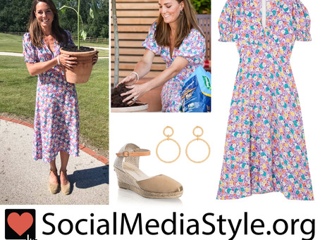 Kate Middleton's hoop drop earrings, lilac floral print dress, and espadrilles