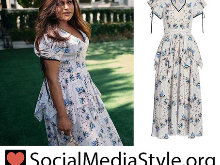 Mindy Kaling's floral print peplum dress from Vogue
