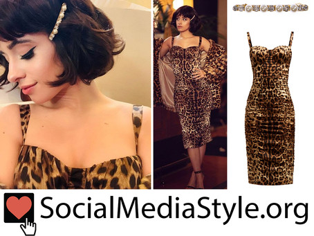 Camila Cabello's crystal and pearl barrette and leopard print bustier dress