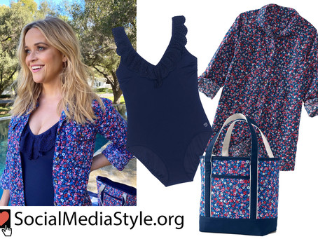 Reese Witherspoon's Draper James x Lands' End ruffled navy swimsuit and floral print shirt and tote