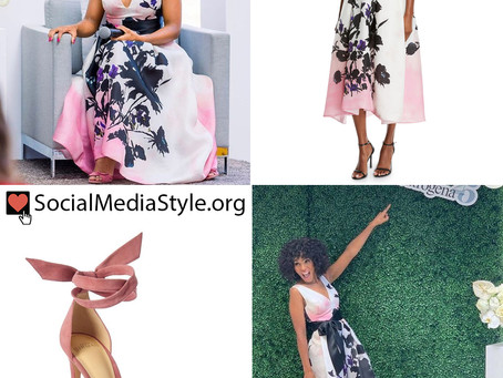 Kerry Washington's floral print tea length dress and pink sandals