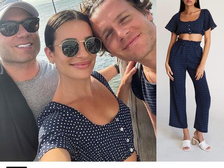 Lea Michele's polka dot crop top and pants