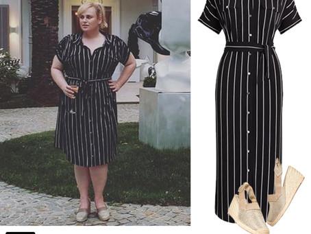 Rebel Wilson's striped shirt dress and espadrilles