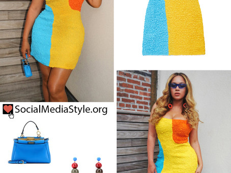 Beyonce's colorblock dress and fun accessories