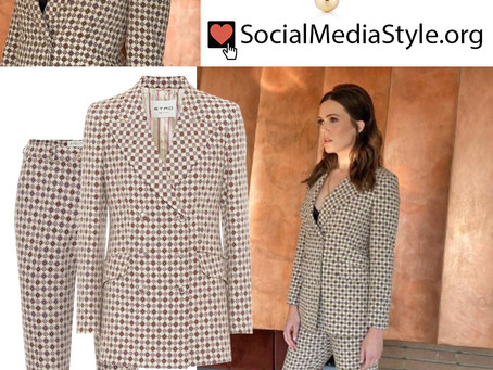 Mandy Moore's wrap necklace and geometric print blazer and pants from Late Night with Seth Meyers