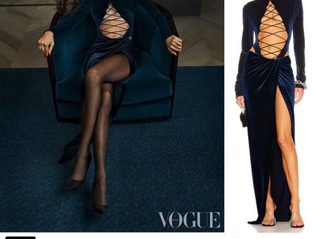 Zendaya's blue velvet lace up bodysuit and skirt from British Vogue