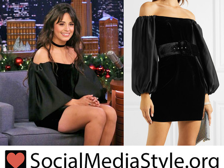 Camila Cabello's black off the shoulder dress from The Tonight Show Starring Jimmy Fallon