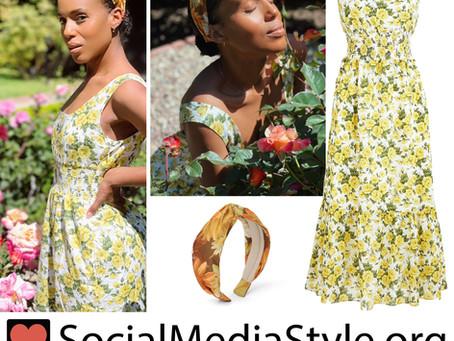Kerry Washington's yellow floral print dress and headband