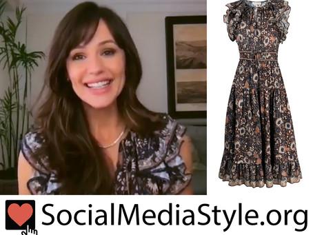 Jennifer Garner's ruffled floral print dress from The Kelly Clarkson Show