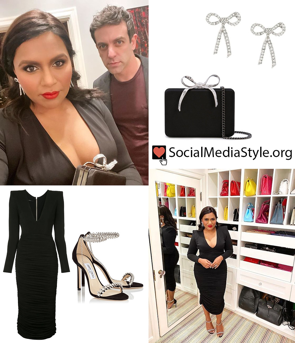 Mindy Kaling S Black Dress And Crystal Accessories
