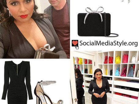 Mindy Kaling's black dress and crystal accessories