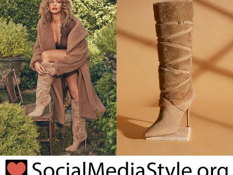 JLO Jennifer Lopez faux fur boots