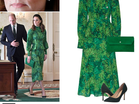 Kate Middleton's diamond daisy earrings and green peplum dress, envelope clutch, and green pumps
