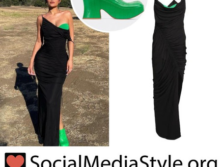 Kylie Jenner's black and green dress and green shoes