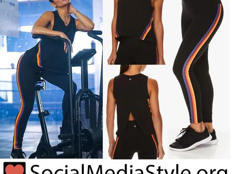 Avia x Vanessa Hudgens rainbow striped tank top and leggings
