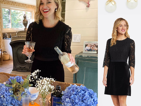 Reese Witherspoon's Draper James pearl earrings and black lace dress
