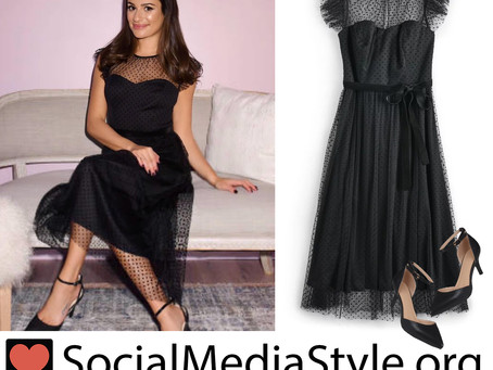 Lea Michele's black dress and pumps from the Kohl's Holiday Pop-Up Opening Event
