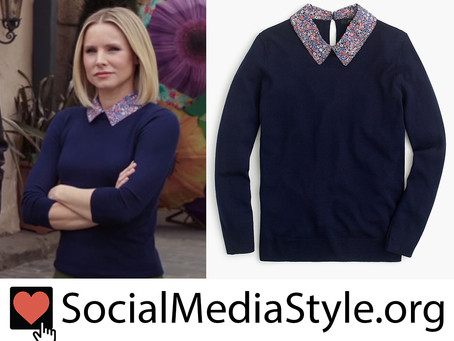 Eleanor Shellstrop (Kristen Bell)'s navy sweater with floral print collar from The Good Place