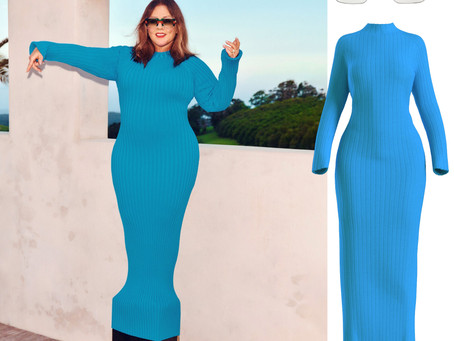 Melissa McCarthy's striped sunglasses and blue knit dress from InStyle