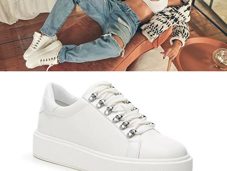 JLO Jennifer Lopez white platform sneakers