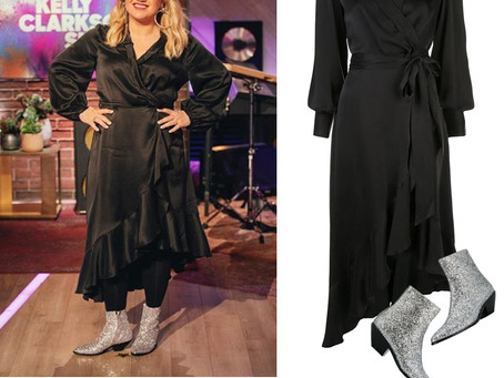 Kelly Clarkson's black wrap dress and silver glitter boots from The Kelly Clarkson Show