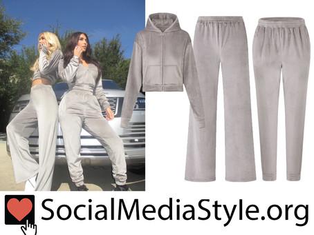 Paris Hilton and Kim Kardashian's Skims grey velour hoodies and pants