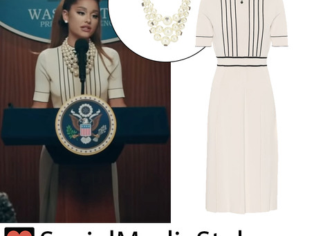 Ariana Grande's pearl necklace and retro monochrome dress from the Positions video