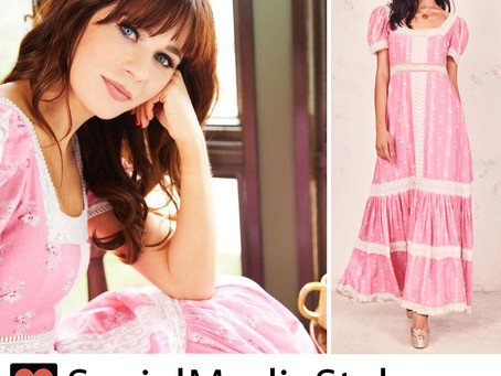 Zooey Deschanel's pink floral print dress