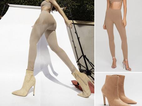 Khloe Kardashian's Good American nude sports bra, leggings, and booties