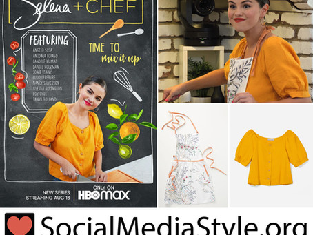 Selena Gomez's marigold yellow puff-sleeve top and floral print apron from Selena + Chef