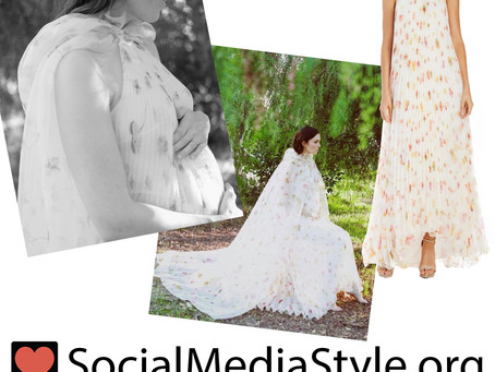 Mandy Moore's pleated floral print gown from her maternity photoshoot
