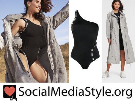 Alison Brie's grey jacket and black one shoulder swimsuit from Women's Health