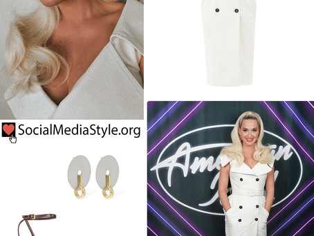 Katy Perry's double-breasted white dress, disc earrings, and chain detail sandals from American Idol