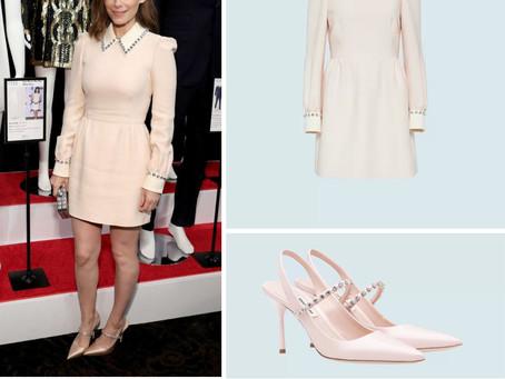 Kate Mara's pink studded collar dress and slingbacks