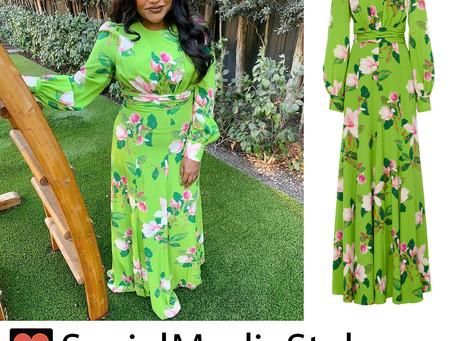 Mindy Kaling's green floral print dress