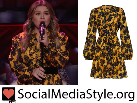 Kelly Clarkson's ruffled black and yellow print dress from The Kelly Clarkson Show