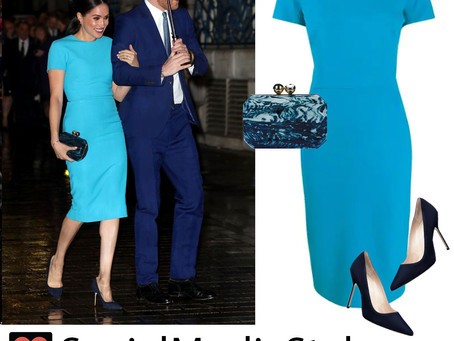 Meghan Markle's turquoise dress, marbled clutch, and navy pumps from the Endeavor Fund Awards