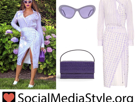 Beyonce's purple plaid dress, cateye sunglasses, and crocodile embossed bag