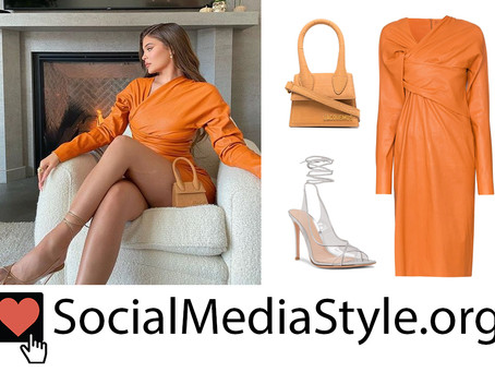 Kylie Jenner's orange leather dress, small bag, and lace up sandals