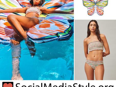 Kerry Washington's butterfly pool float and floral print bandeau bikini