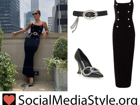 Lady Gaga's button and chain black dress, crystal and chain belt, and silver ring pumps