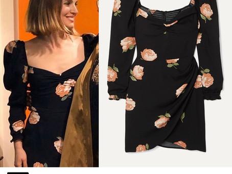 Natalie Portman's black floral print dress