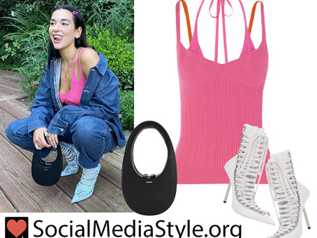 Dua Lipa's pink double strap tank top, white lace up boots, and black circle handle bag