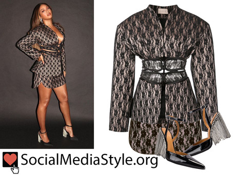 Beyonce's lace jacket and skirt and crystal fringed pumps