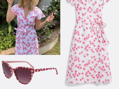 Reese Witherspoon's Draper James gingham sunglasses and floral print dress