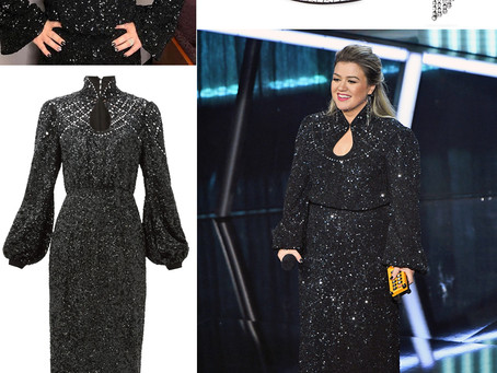 Kelly Clarkson's tassel earrings, black sequin dress, and sandals from the Billboard Music Awards