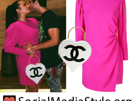 Demi Lovato's hot pink dress and heart-shaped bag