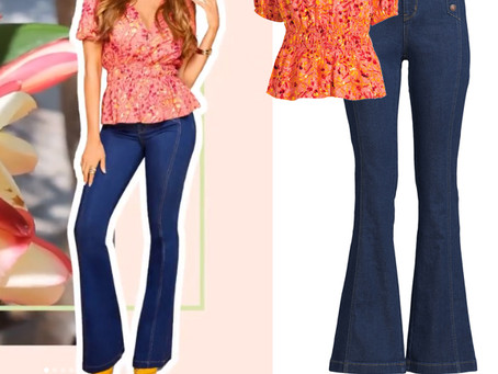 Sofia Vergara's floral print puff sleeve top and bell bottom jeans